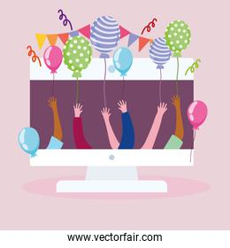 virtual party, computer and people celebration event balloons