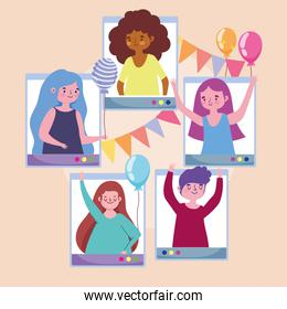 virtual party, young people celebrating with balloons pennants festive