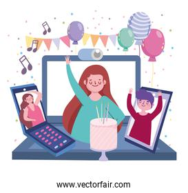 virtual party, people on screen devices celebrating birthday