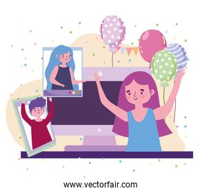 virtual party, girl celebration event with people in video call