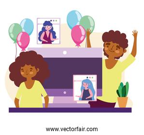virtual party, happy couple and people on video call celebration party