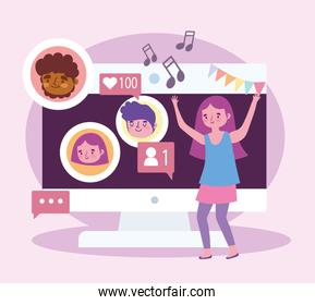 virtual party, girl celebrating dancing with people on video call
