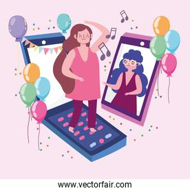 virtual party, women celebrating meeting festive with smartphone devices