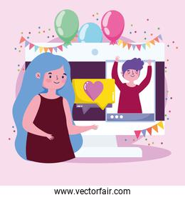virtual party, young couple celebrating with smartphone video call