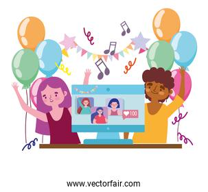 virtual party, happy couple celebrating festive with people connected by computer