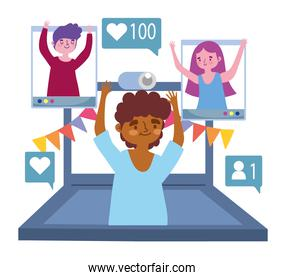 virtual party, boy in video call with people celebration party