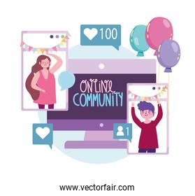 virtual party, online community celebrating event meeting