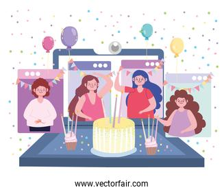 virtual party birthday meeting friends together in quarantine