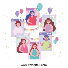 virtual party happy friends, video chat apps celebrations