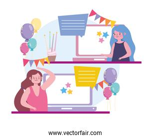 virtual party, women online chat using the video app