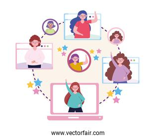 virtual party, online party people in celebrating concept
