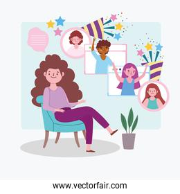 virtual party, woman on a chair celebration people by internet