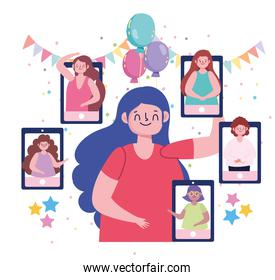 virtual party, people celebrating a special occasion or birthday