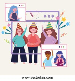 virtual party, friends have fun in a video conference, celebration party