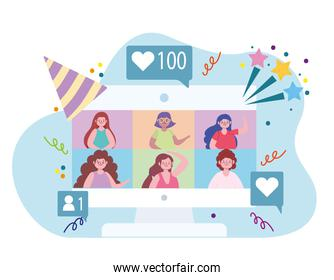 virtual party, meetup, video conference, stay home celebration party