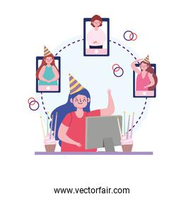 virtual party, people making online party through video call