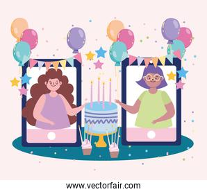 virtual party, girls celebrating birthday, meeting with friends