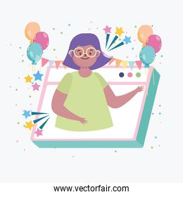 virtual party, girl meeting friends online celebration event