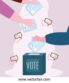 vote, hands pushing ballot in box election