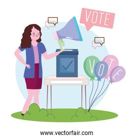 election campaign woman voting for candidate