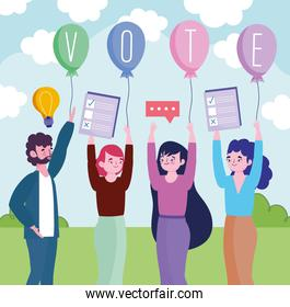 group people with vote ballots and advertising elections