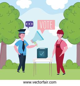 men different jobs putting ballot in the box election