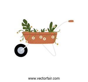 gardening, wheelbarrow with flwoers and plants icon isolated design