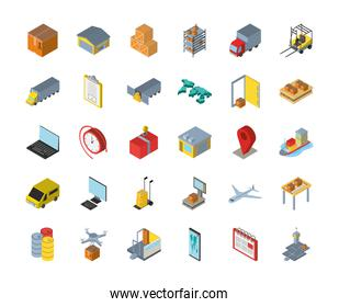 Delivery and logistics isometric icon group vector design