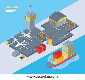 Logistics and delivery isometric airport and ship vector design