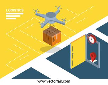 Logistics and delivery isometric drone with box and door vector design