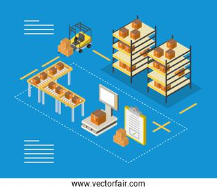 Delivery and logistics isometric boxes on furnitures forklift and scale vector design