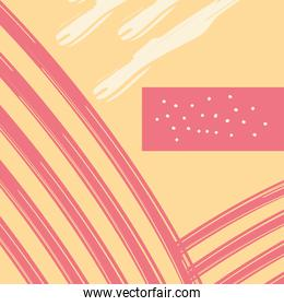 Abstract yellow pattern background with red lines vector design