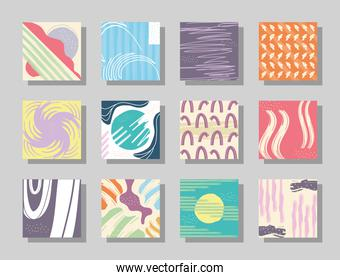 Abstract pattern backgrounds symbol collection vector design