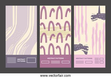 Abstract pattern backgrounds icon group vector design