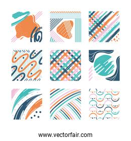 Abstract pattern backgrounds set vector design