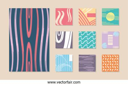 Abstract pattern backgrounds symbol set vector design