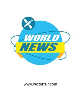 world news banner with ribbon vector design