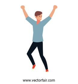 excited man happy celebrating on white background