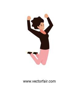 young woman character celebrating, white background