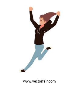 jumping woman character celebrating, white background