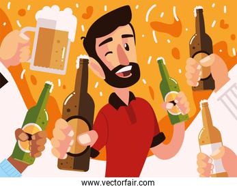 happy man with beer bottle and hands with differents drinks, cheers