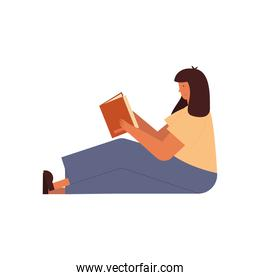 Woman sitting reading a book vector design