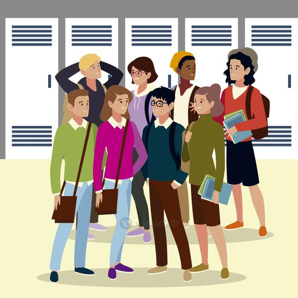 group university students with books and bags, cartoon style