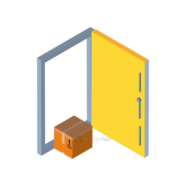 Delivery and logistics isometric box in front of door vector design