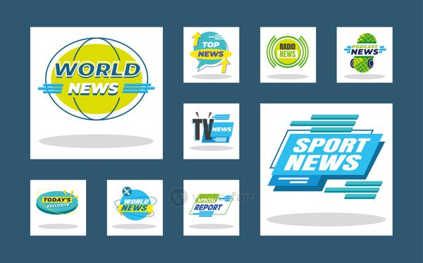 News banners and labels icon collection vector design