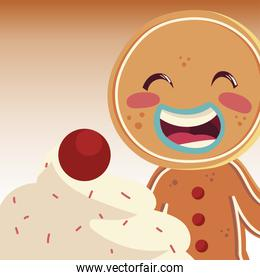 merry christmas gingerbread man with cream and fruit