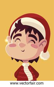 merry christmas cute boy with hat character portrait cartoon