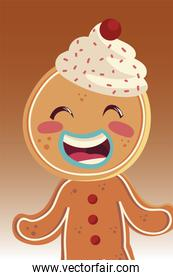 merry christmas gingerbread man character portrait cartoon