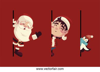 merry christmas, greeting card with santa helper and penguin