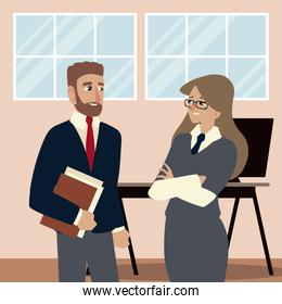 business people, business man and woman talking in the office